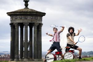 L-R: French drumming duo S�bastien Rambaud and Yann Coste get some practice in, on Edinburgh's Calton Hill, ahead of their hotly anticipated Edinburgh Festival show. Pic: Jane Barlow