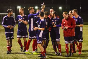 Salvesen AFC celebrate winning the Challenge Cup. Pic: Vicky French Photography Scotland