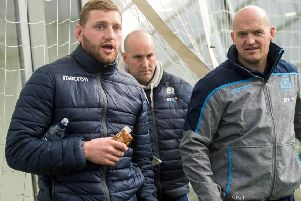 Finn Russell (left) with Scotland head coach Gregor Townsend at the Oriam on Monday. Picture: SNS Group