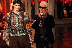 Karl Lagerfeld and Scottish model, Stella Tennant, who opened and closed the show in Linlithgow. Picture: Mark Mainz