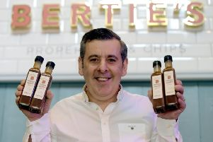 Tony Crolla with his Edinburgh chippy sauce at Bertie's, on Victoria Street. Picture: Lisa Ferguson, TSPL.
