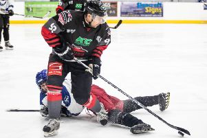 Martin Cingel takes the puck against Solway Stingrays. Picture: Ian Coyle