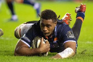 Viliame Mata in try-scoring form for 'Edinburgh aganst Cardiff. Picture: Bill Murray/SNS