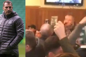 Brendan Rodgers, left, and a still from the video. Picture: Contributed
