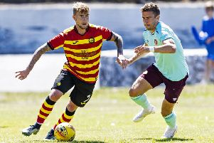 Olly Lee in action for Hearts during a pre-season friendly with Partick. Picture: SNS Group