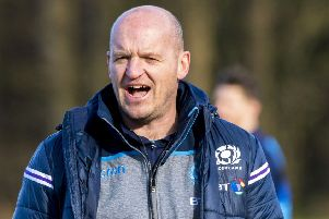Scotland head coach Gregor Townsend takes a training session at the Oriam centre in Edinburgh