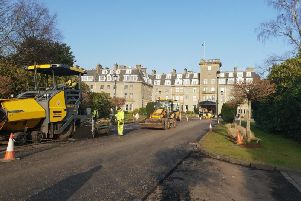 Gleneagles Hotel's front drive being resurfaced with the plastic mix. Picture: Sarah Louise Lakin
