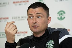 Hibs head coach Paul Heckingbottom wants fans to behave. Pic: SNS