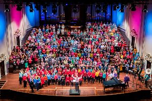 Love Music youth choir is to stage a flashmob spectacular on the steps of the Usher Hall. Picture: Andy Catlin