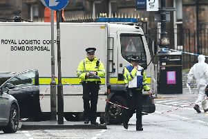 University of Glasgow buildings evacuated over suspect package on the 6 March. Picture: John Devlin.
