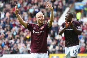 Hearts fans could be seeing more of this before the season is out, with Craig Levein hopeful of a speedy recovery for Steven Naismith. Picture: SNS Group