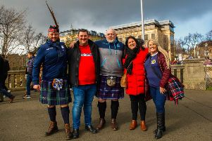 Rugby fans outside Murrayfield for the Scotland V Wales game last weekend. Pic: Members of Scottish Rugby Away Tours forum Facebook Page