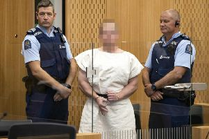 Brenton Tarrant during his appearance in the Christchurch District Court yesterday. Picture: Mark Mitchell/Getty