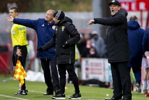 Hearts manager Craig Levein gives out orders from the sidelines. Pic: SNS
