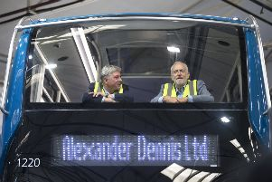 Richard Leonard and Jeremy Corbyn eschewed the back of this bus, prefering to sit up front (Picture: John Devlin)