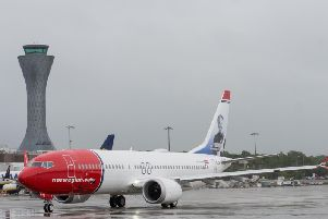 A Norwegian 737 Max remains grounded at Edinburgh Airport. Picture: Norwegian
