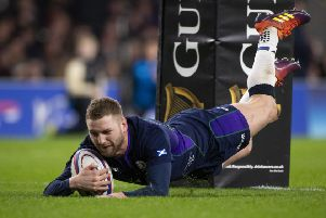 Finn Russell goes over for Scotland's fifth try at Twickenham. Picture SNS/Bill Murray