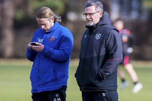Hearts manager Craig Levein and his assistant Austin MacPhee oversee training. Pic: SNS