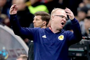 Scotland manager Alex McLeish shows his frustration in the Astana Arena. Picture: Adam Davy/PA Wire