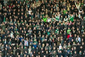 Hibs fans pack out the away end at Tynecastle. Picture: SNS Group