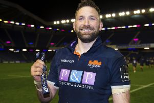 Edinburgh's John Barclay is awarded the Man of the Match award at full-time. Picture: Ross Parker/SNS