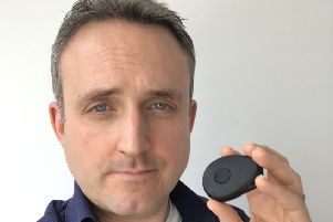 Alex cole-Hamilton, MSP - with the panic alarm he has been supplied with following threats made to him..