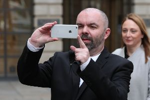 Pro-independence blogger Stuart Campbell from Wings Over Scotland leaves Edinburgh Sheriff Court where he is taking a defamation action against former Scottish Labour leader Kezia Dugdale. Pic: Andrew Milligan/PA Wire