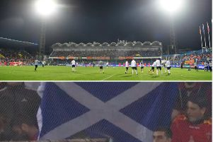 Composite image showing a general view of the Podgorica City Stadium and screengrab of the flag. Pictures: Getty images/Contributed