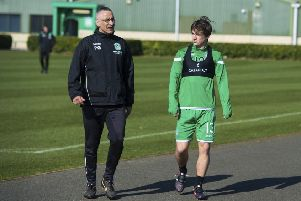 Ryan Gauld (right) with Hibs' strength and condition coach Paul Green. Picture: SNS Group
