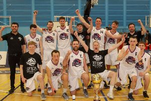 Edinburgh Kings celebrate winning the Scottish Basketball Play-Off title. Pic: Scott Louden