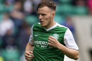 Jamie Insall in action for Hibs in a pre-season friendly with Birmingham at Easter Road. Picture: SNS Group