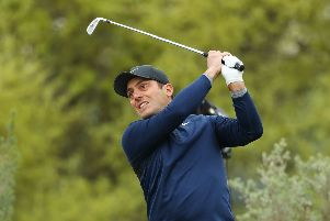 Francesco Molinari plays a shot from the 11th tee during the semifinal round of the World Golf Championships-Dell Technologies Match Play at Austin. Picture: Getty Images