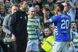 Alfredo Morelos has blamed Scott Brown, Celtic players and officials for his sending off