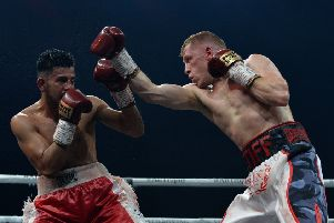 Stephen Tiffney pictured fighting  Arturo Lopez of Mexico at The SSE Hydro on November 3, 2018. Pic: Getty