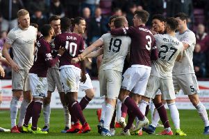 Hearts and Aberdeen players clashed at Tynecastle on Saturday