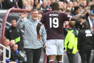 Hearts Uche Ikpeazu is ready to face Hibs, says manager Craig Levein. Picture: SNS/Craig Foy