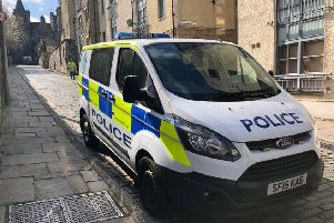 A Police Scotland van in Old Toolbooth Wynd this morning. Picture: Lisa Ferguson/TSPL