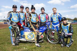 From left, Monarchs Justin Sedgmen, Joel Andersson, William Lawson, Ricky Wells (captain), Josh Pickering, Cameron Heeps, and Luke Ruddick. Pic: Ron MacNeill