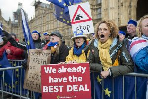 Remain: Anti-Brexit campaigners in Westminster (Picture: David Mirzoeff/PA)