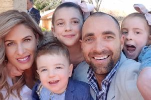 Gennaro Rapinese with wife Joanna and kids Mia, seven, Stella, six, and two-year-old Nicholas