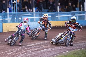 Monarchs' Josh Pickering leads Wolves' Luke Becker & Sam Masters during heat five. Pic: Ron MacNeill