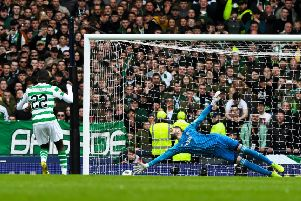 Celtic's Odsonne Edouard scores to make it 2-0 against Aberdeen. Pic: SNS