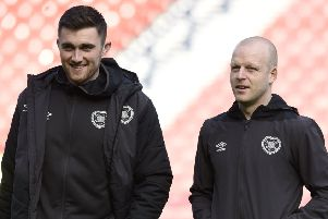 Hearts' John Souttar and Steven Naismith out on the park before the William Hill Scottish Cup semi-final
