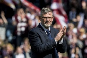 Hearts manager Craig Levein celebrates at full time on Saturday