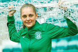 Hibs Ladies Goalkeeper Jenna Fife made an important save before her team had scored