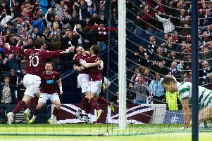 Hearts celebrate Rudi Skacel's goal in the 2-1 Scottish Cup semi-final win over Celtic