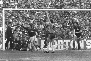 Albert Kidd scored twice for Dundee against Hearts, denying the Jambos the title in 1986. Pic: SNS