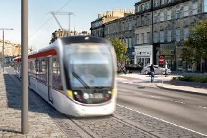 An artist's impression of an Edinburgh Tram at Elm Row, Picture: Edinburgh Council