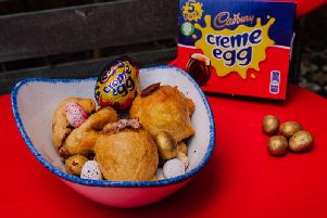 Deep-fried Creme egg available at Bertie's