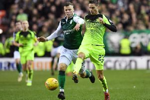 Florian Kamberi battles for the ball with Mikael Lustig during the last meeting between the two teams